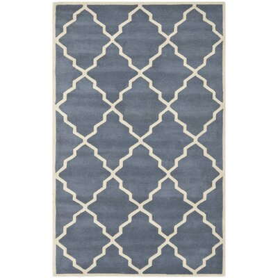 Wilkin Tufted Wool Gray/Ivory Area Rug Rug Size: Rectangle 5 x 8