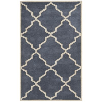 Wilkin Tufted Wool Gray/Ivory Area Rug Rug Size: Rectangle 3' x 5'