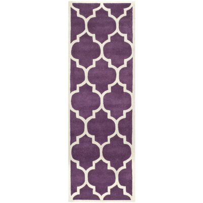 Wilkin Hand-Tufted Purple/Ivory Area Rug Rug Size: Runner 23 x 7
