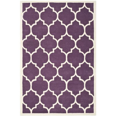 Wilkin Purple/Ivory Moroccan Area Rug Rug Size: 5 x 8