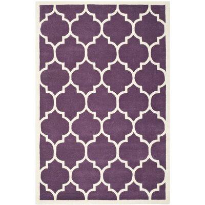 Wilkin Purple/Ivory Moroccan Area Rug Rug Size: 6 x 9