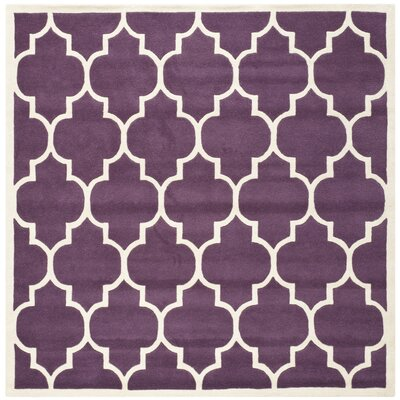 Wilkin Hand-Tufted Purple/Ivory Area Rug Rug Size: Square 7
