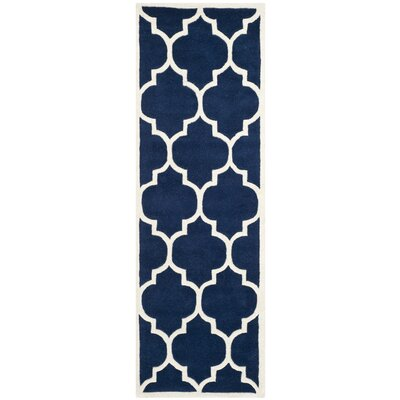 Wilkin Hand-Tufted Dark Blue/Ivory Area Rug Rug Size: Runner 23 x 17