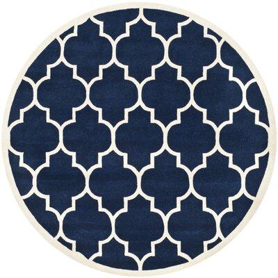 Wilkin Hand-Tufted Dark Blue/Ivory Area Rug Rug Size: Round 5