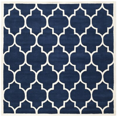 Wilkin Dark Blue & Ivory Moroccan Area Rug Rug Size: Square 7