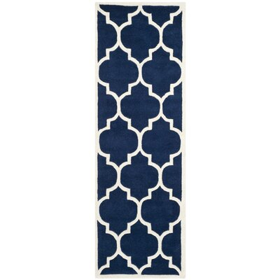 Wilkin Dark Blue & Ivory Moroccan Area Rug Rug Size: Runner 23 x 7