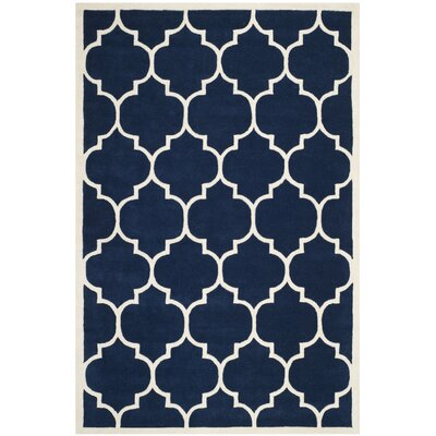 Wilkin Hand-Tufted Dark Blue/Ivory Area Rug Rug Size: Rectangle 8 x 10
