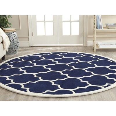 Wilkin Dark Blue & Ivory Moroccan Area Rug Rug Size: Round 4