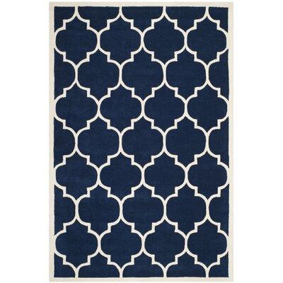 Wilkin Dark Blue & Ivory Moroccan Area Rug Rug Size: 3 x 5