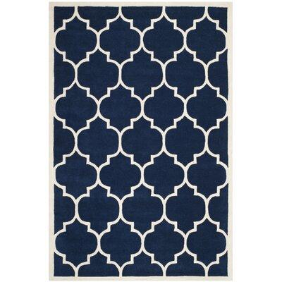 Wilkin Dark Blue & Ivory Moroccan Area Rug Rug Size: 4 x 6