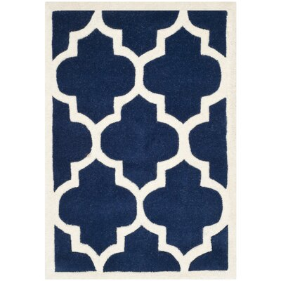 Wilkin Dark Blue & Ivory Moroccan Area Rug Rug Size: Rectangle 2' x 3'