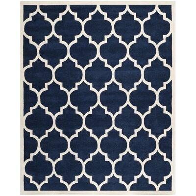 Wilkin Dark Blue & Ivory Moroccan Area Rug Rug Size: 10 x 14