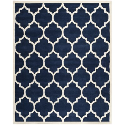 Wilkin Dark Blue & Ivory Moroccan Area Rug Rug Size: 11 x 15
