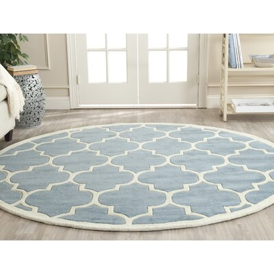 Wilkin Blue/Ivory Moroccan Area Rug Rug Size: Round 7
