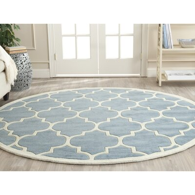 Wilkin Blue/Ivory Moroccan Area Rug Rug Size: Round 4