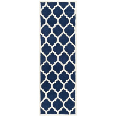 Wilkin Hand-Tufted Dark Blue/Ivory Area Rug Rug Size: Runner 23 x 11