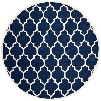 Wilkin Hand-Tufted Dark Blue/Ivory Area Rug Rug Size: Round 7