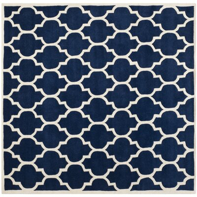 Wilkin Dark Blue & Ivory Moroccan Area Rug Rug Size: Square 7'