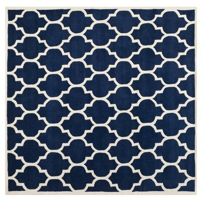 Wilkin Hand-Tufted Dark Blue/Ivory Area Rug Rug Size: Square 7