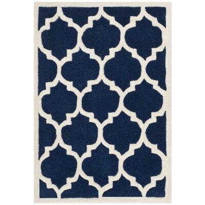 Wilkin Dark Blue & Ivory Moroccan Area Rug Rug Size: 2' x 3'