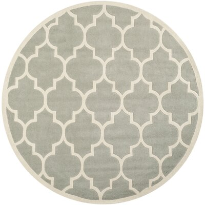 Wilkin Hand-Tufted Gray/Ivory Area Rug Rug Size: Round 5