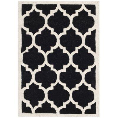 Wilkin Black & Ivory Moroccan Area Rug Rug Size: 5 x 8