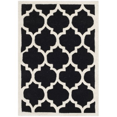 Wilkin Black & Ivory Moroccan Area Rug Rug Size: 6 x 9