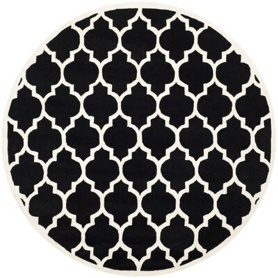 Wilkin Black & Ivory Moroccan Area Rug Rug Size: Round 7