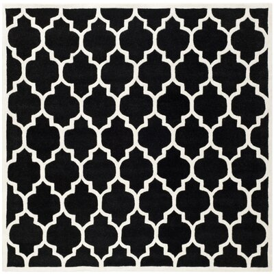 Wilkin Hand-Tufted Black/Ivory Area Rug Rug Size: Square 89