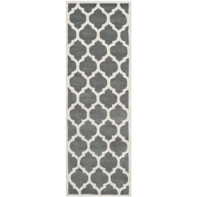 Wilkin Hand-Tufted Dark Gray/Ivory Area Rug Rug Size: Runner 23 x 5
