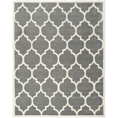 Wilkin Hand-Tufted Dark Gray/Ivory Area Rug Rug Size: Rectangle 8 x 10