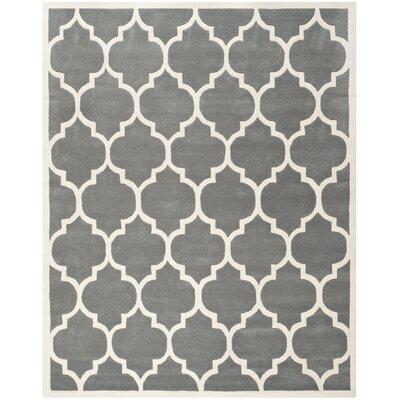 Wilkin Dark Grey & Ivory Moroccan Area Rug Rug Size: 6 x 9