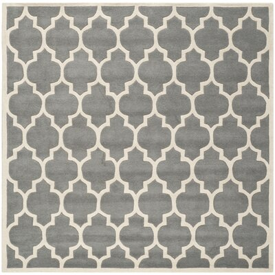 Wilkin Hand-Tufted Dark Gray/Ivory Area Rug Rug Size: Square 5
