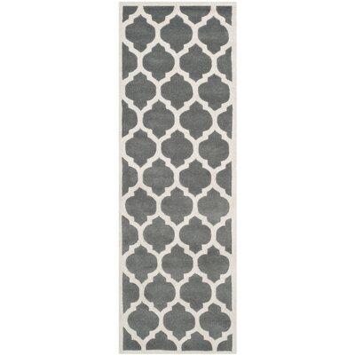 Wilkin Dark Grey & Ivory Moroccan Area Rug Rug Size: Runner 23 x 5