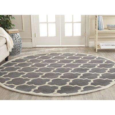 Wilkin Dark Grey & Ivory Moroccan Area Rug Rug Size: Round 5