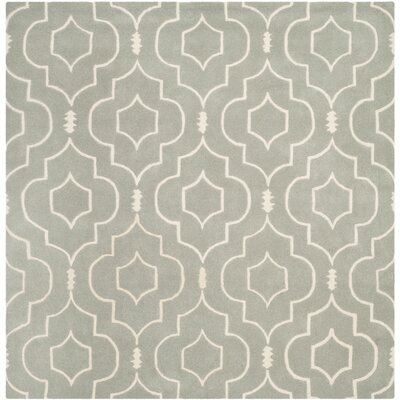 Wilkin Hand-Tufted Gray/Ivory Area Rug Rug Size: Square 7