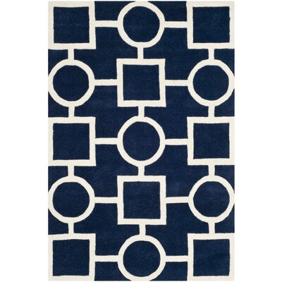 Wilkin Hand-Tufted Wool Blue/Ivory Rug Rug Size: Rectangle 4 x 6