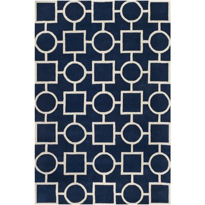 Wilkin Hand-Tufted Wool Blue/Ivory Rug Rug Size: Rectangle 5 x 8