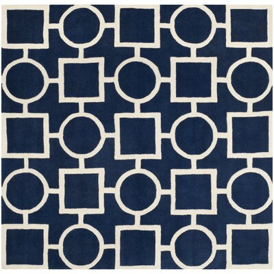 Wilkin Hand-Tufted Wool Blue/Ivory Rug Rug Size: Square 7