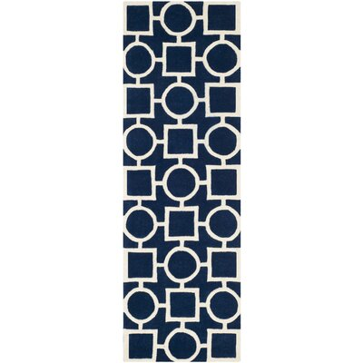 Wilkin Hand-Tufted Wool Blue/Ivory Rug Rug Size: Runner 23 x 7