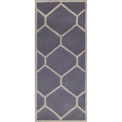 Martins Hand-Tufted Wool Silver/Ivory Area Rug Rug Size: Runner 26 x 6