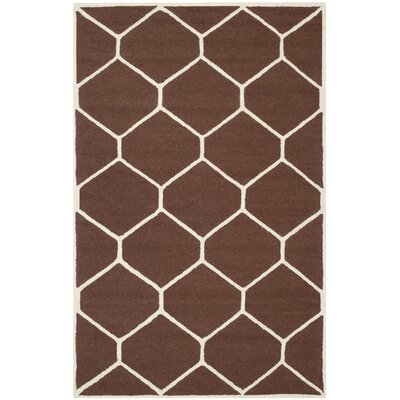 Martins Hand-Tufted Wool Dark Brown Area Rug Rug Size: Rectangle 4 x 6