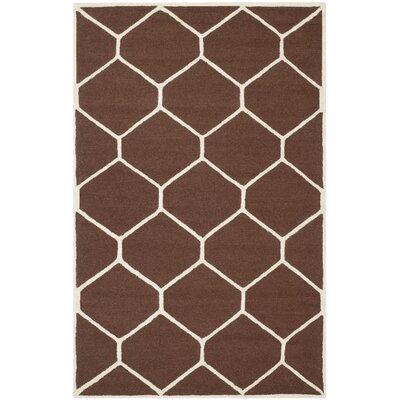 Martins Dark Brown/Ivory Area Rug Rug Size: 8 x 10