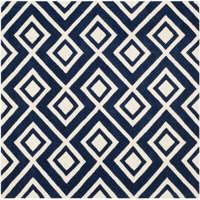 Wilkin Hand-Tufted Wool Dark Blue/Ivory Rug Rug Size: Square 7
