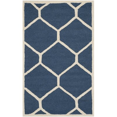 Martins Hand-Tufted Wool Navy Blue Area Rug Rug Size: Runner 26 x 6