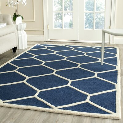 Martins Navy Blue/Ivory Area Rug Rug Size: Runner 26 x 6