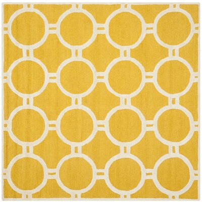 Martins Gold / Ivory Area Rug Rug Size: Square 8