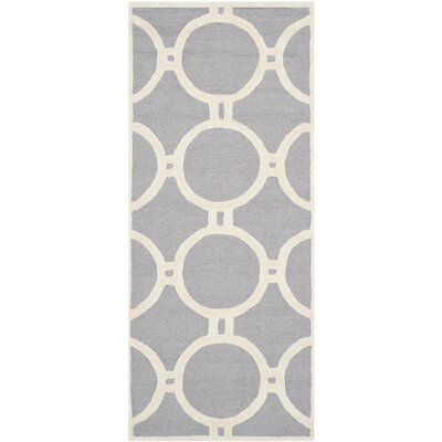 Martins Silver / Ivory Area Rug Rug Size: Runner 26 x 6