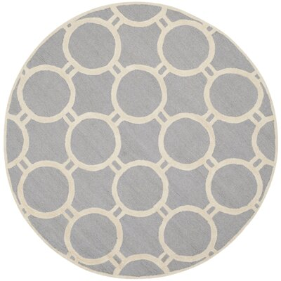 Martins Hand-Tufted Wool Silver/Ivory Area Rug Rug Size: Round 6
