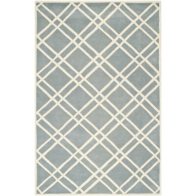 Wilkin Hand-Tufted Wool Blue/Ivory Area Rug Rug Size: Rectangle 89 x 12